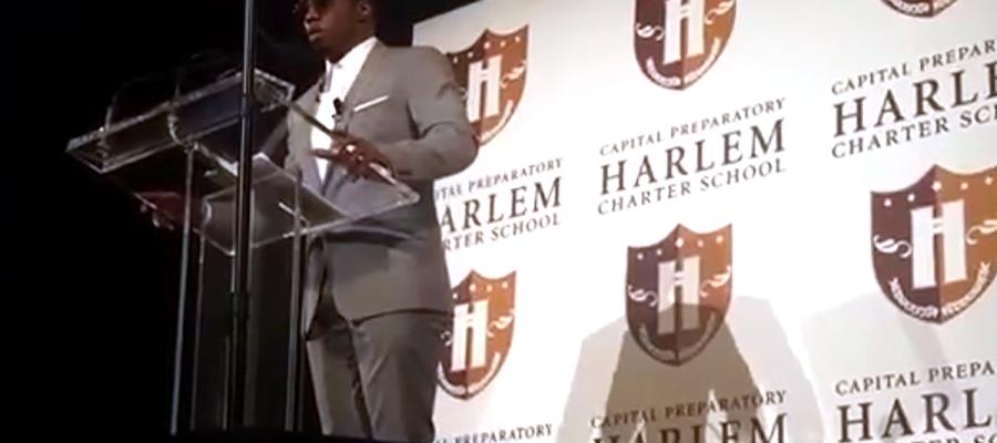 Diddy speaks at a school in Harlem (Photo by Adam Schrader)